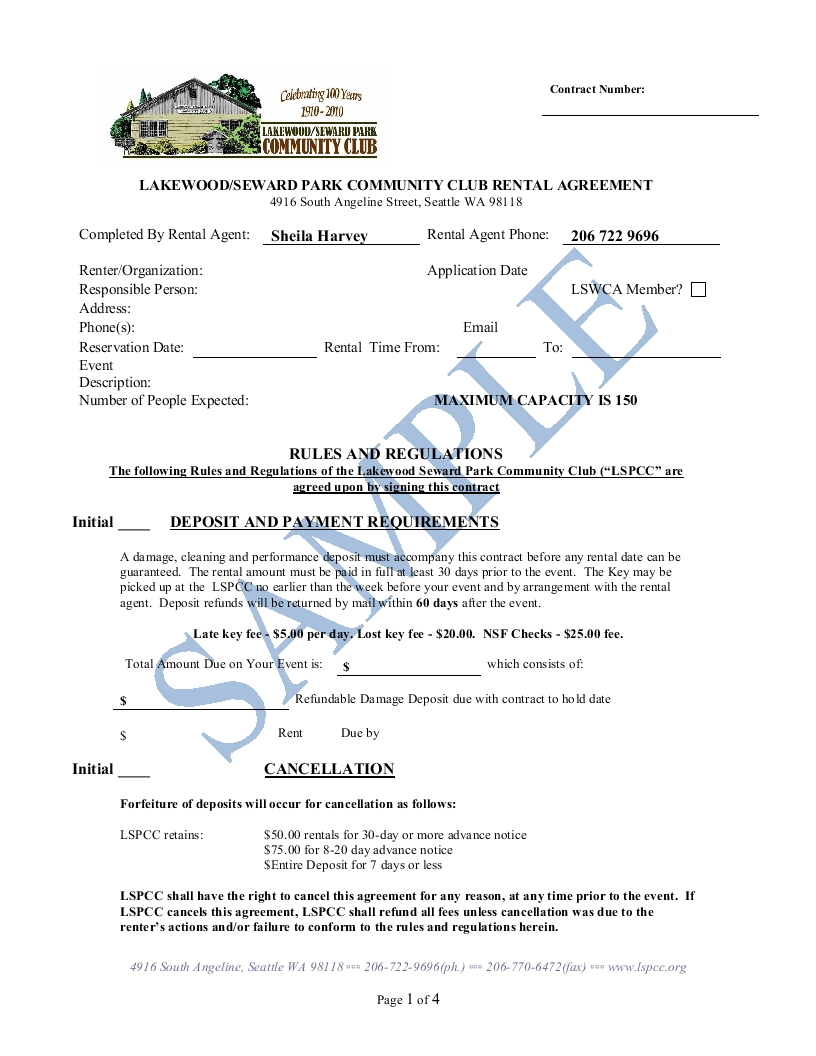 Sample Rental Agreement Lakewood Seward Park Community Club